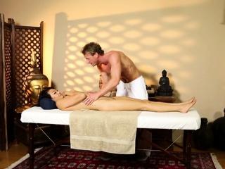 Oriental babe massaged and..